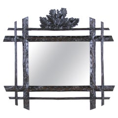 Rustic Black Forest Mirror Hand Carved with Oak Leaves, Austria, circa 1880