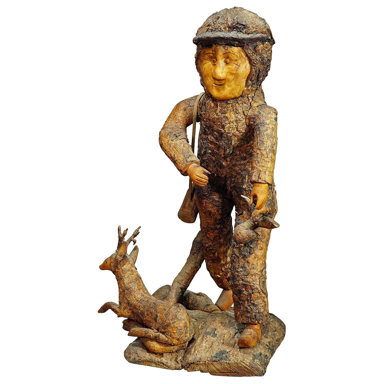 Rustic Black Forest Root Wood Hunter, circa 1920