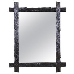 Rustic Black Forest Wall Mirror Hand Carved, Austria, circa 1870