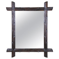 Rustic Black Forest Wall Mirror Hand Carved, Austria, circa 1890