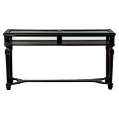 Rustic Black Watchmakers Glass Display Console