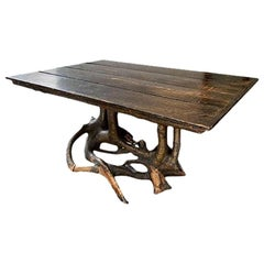 Rustic Bleached Elm Table with a Tree Trunk Base