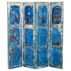 Rustic Blue Painted Folding Wooden Screen, 20th Century