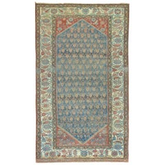 Rustic Blue Rust Antique Persian Malayer Rug