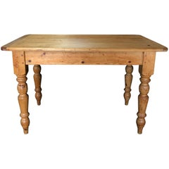 Rustic British 19th Century Scrubbed Pine Farm Table or Desk