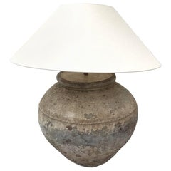Rustic Cambodian Water Jar as Lamp with Custom Shade