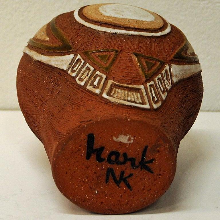 Rustic vintage Ceramic Vase by Hank Keramikk, Norway 1950s In Good Condition For Sale In Stockholm, SE