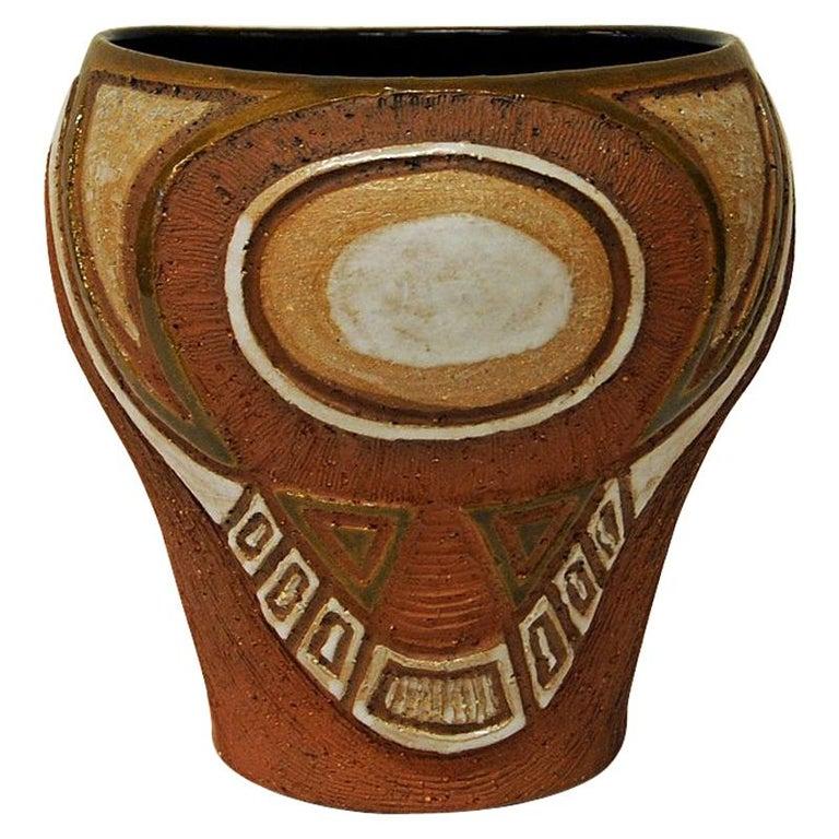 Rustic vintage Ceramic Vase by Hank Keramikk, Norway 1950s For Sale