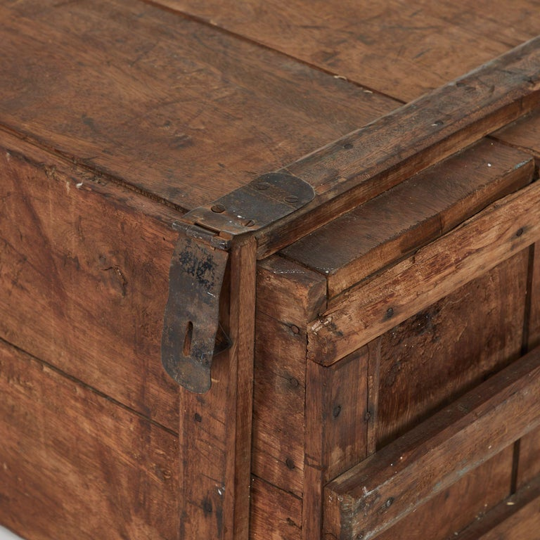 English 19th Century Rustic Chest as a Coffee Table For Sale