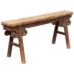 Rustic Chinese A-Frame Bench with Scrolling Spandrels and Distressed Patina