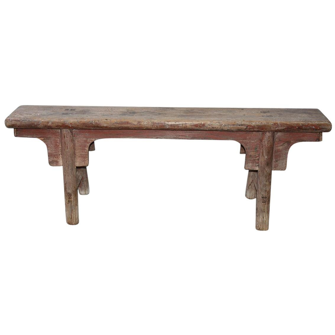 Rustic Chinese Provincial Elm Wood Bench