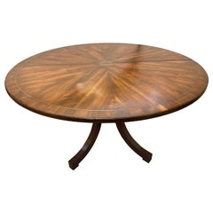 Rustic Circular Boule Inlaid Dining or Kitchen Table, Single Pedestal