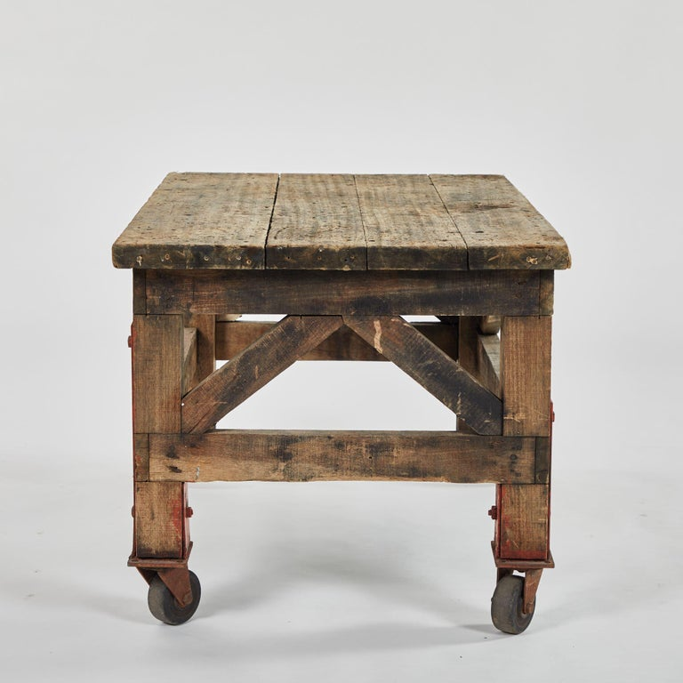 Rustic Coffee Table on Wheels For Sale at 1stDibs