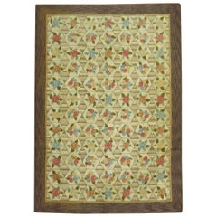 Rustic Color Floral Motif American Hooked Room Size Rug, Mid-20th Century
