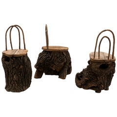 Rustic Continental Tree Trunk Side Chairs
