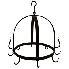 Rustic Crown Form 19th Century Wrought Iron Hanging Butchers Rack, Pot Rack