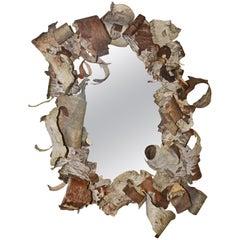 Rustic Curled Birch Bark Mirror