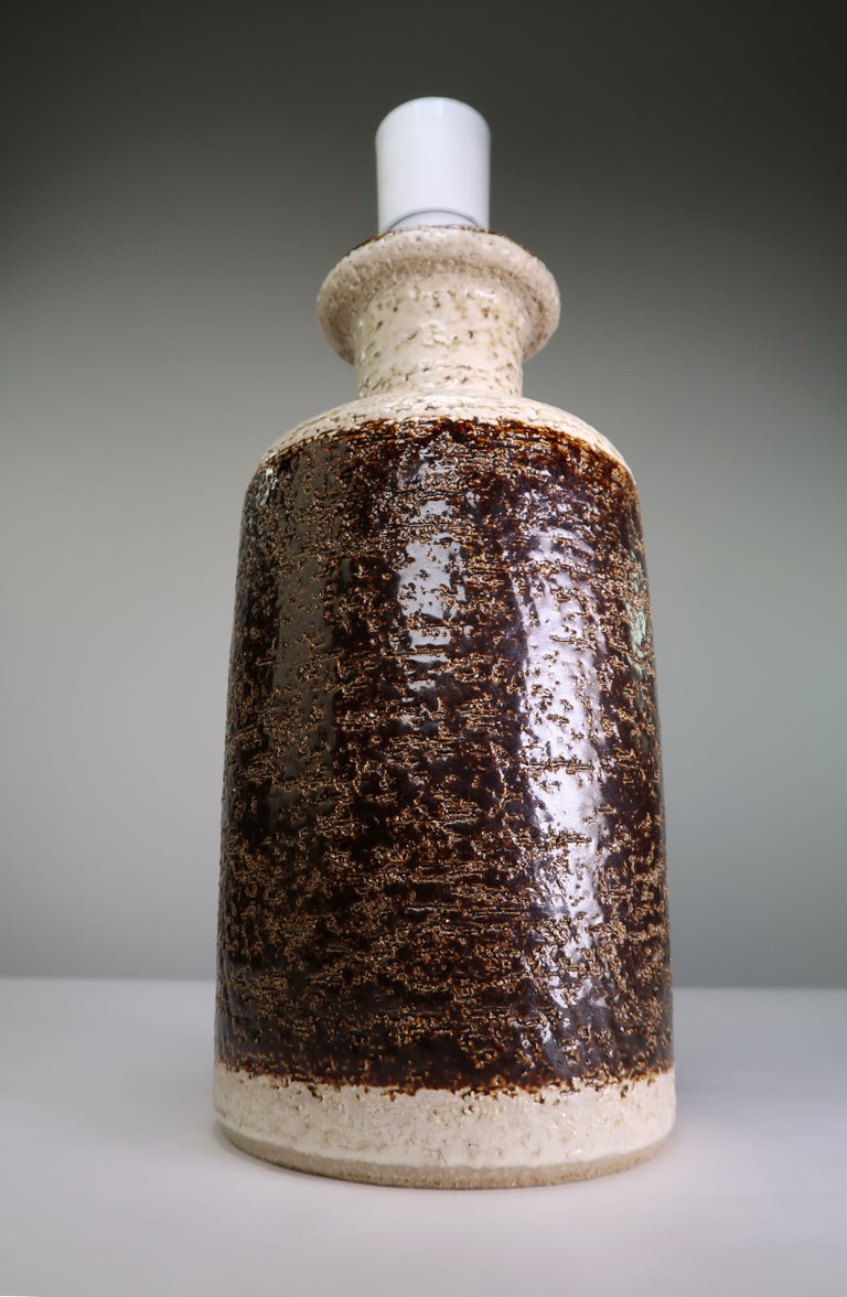 Glazed Rustic Danish Modern Vintage Ceramic Brown, Cream Table Lamp by Søholm, 1960s For Sale