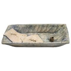 Rustic Decorative Dish Vide Poche Ceramic Clay Light Blue Leaf and Spider Nature