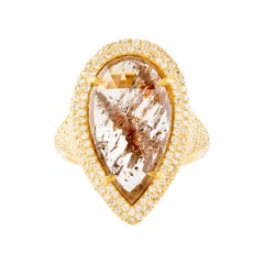 Rustic Diamond Sculpture Ring with Diamond Pave Frosting in 18k Yellow Gold