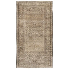 Rustic Early 20th Century Handmade Persian Malayer Gallery Accent Rug