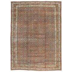 Rustic Early 20th Century Handmade Persian Bidjar Room Size Carpet in Brick Red