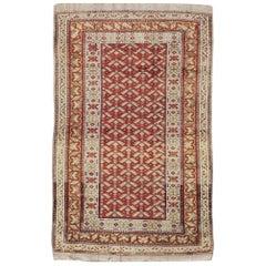 Rustic Early 20th Century Handmade Persian Kurd Throw Rug in Red & Cream