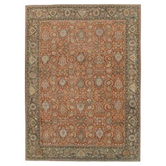 Rustic Early 20th Century Handmade Persian Mahal Room Size Carpet in Red & Green