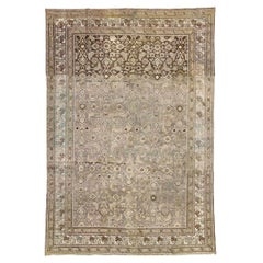 Rustic Early 20th Century Handmade Persian Malayer Accent Rug in Lilac Grey