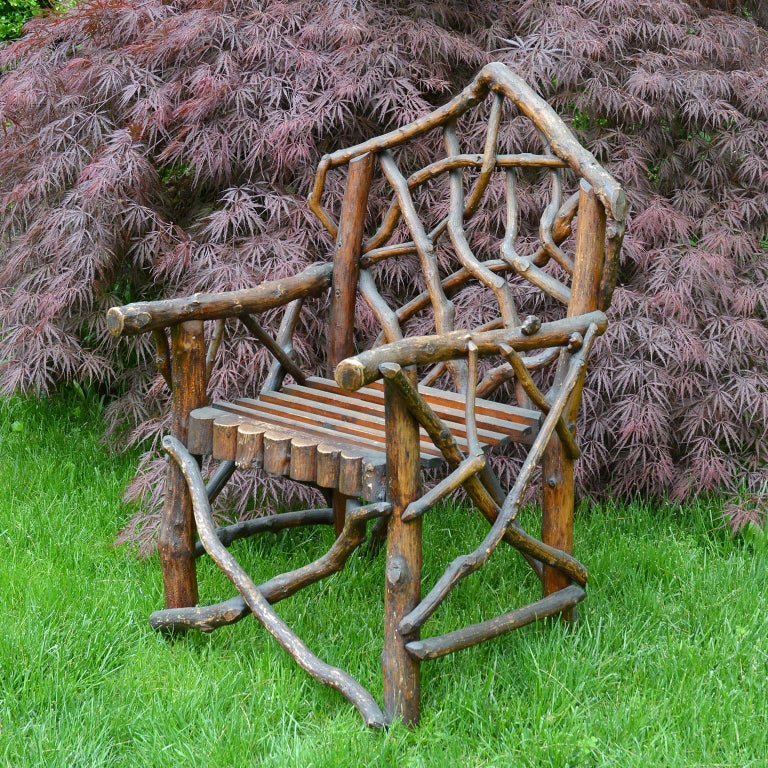 Hand-Crafted Rustic English Armchair For Sale