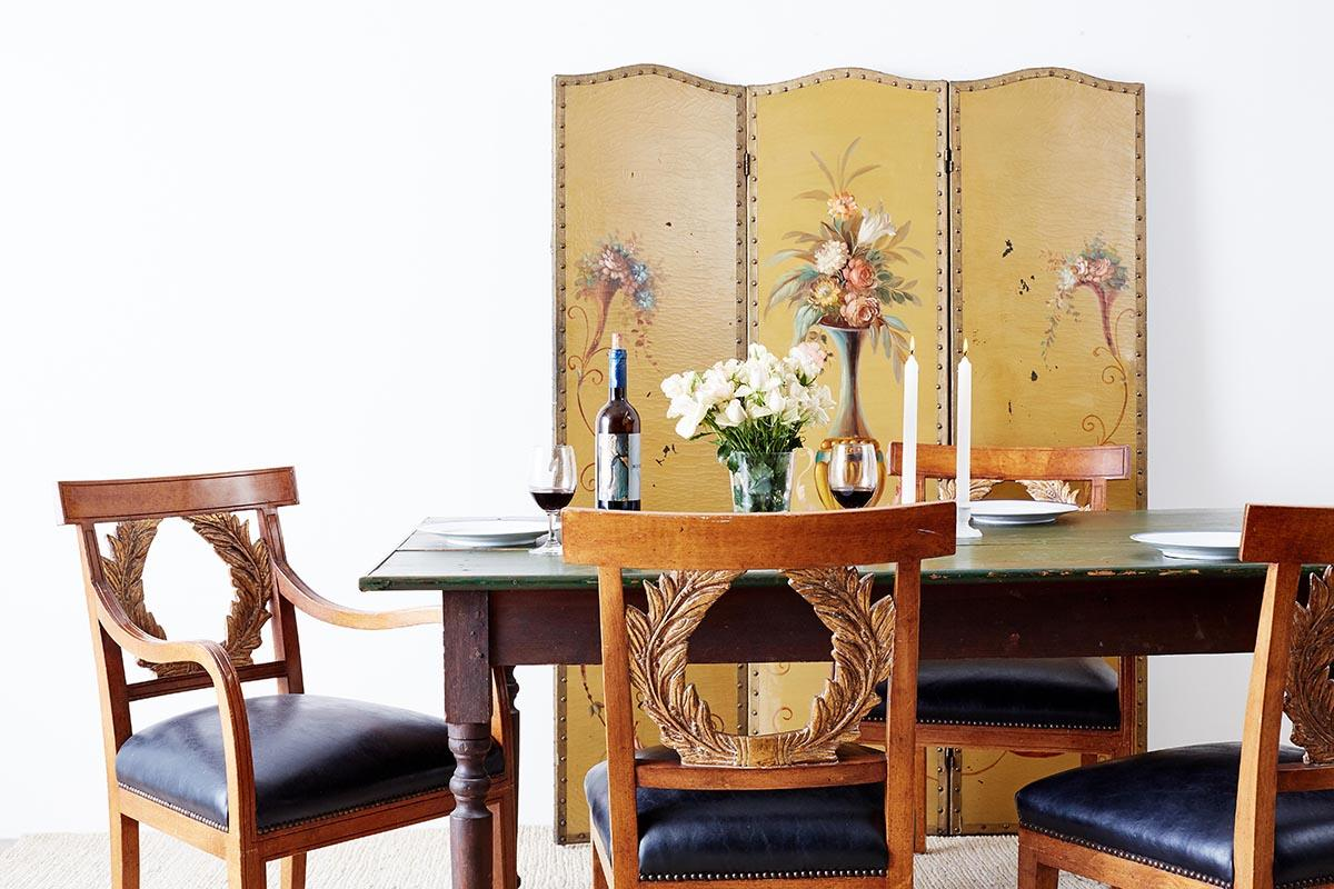 Rustic English Country Pine Farmhouse Dining Table