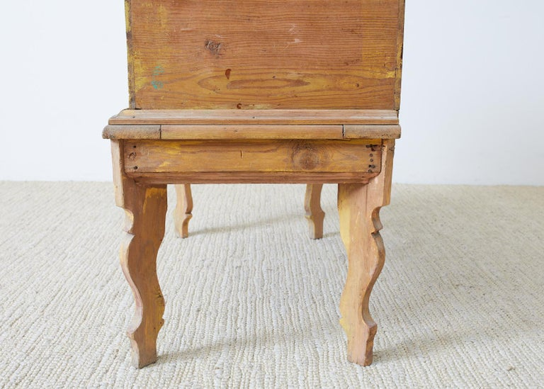Rustic English Pine Coffer Chest on Stand For Sale 7