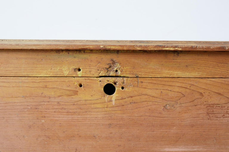 Rustic English Pine Coffer Chest on Stand For Sale 10