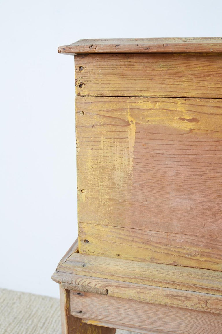 Rustic English Pine Coffer Chest on Stand For Sale 11