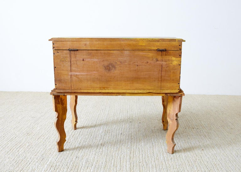Rustic English Pine Coffer Chest on Stand For Sale 12