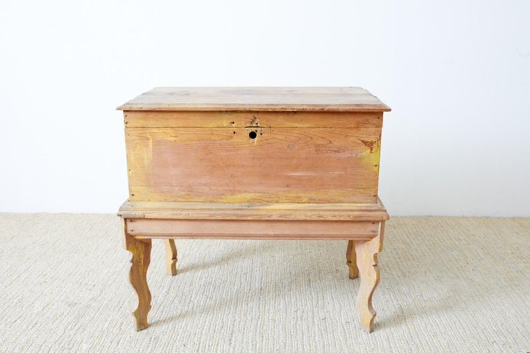 Hand-Crafted Rustic English Pine Coffer Chest on Stand For Sale