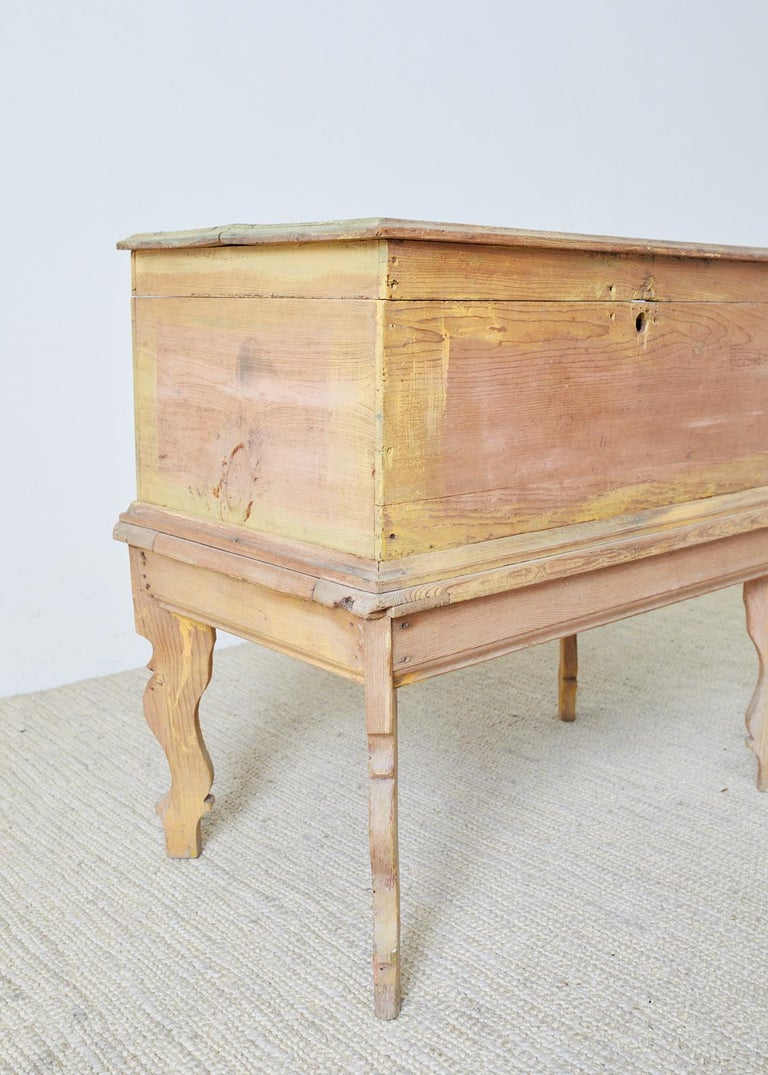 20th Century Rustic English Pine Coffer Chest on Stand For Sale
