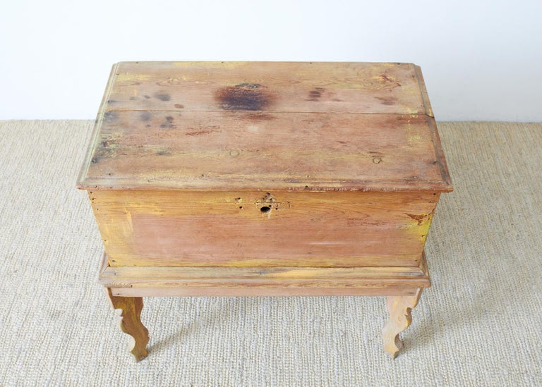 Rustic English Pine Coffer Chest on Stand For Sale 1