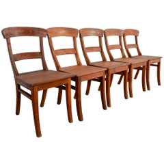 Rustic European Dining Chairs, Set of Five