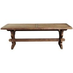 Rustic European Solid Oak Trestle Table