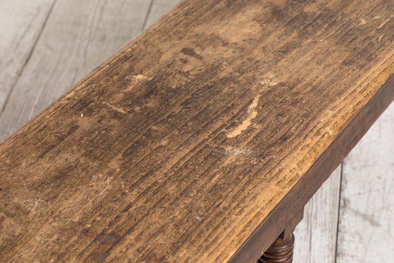 Rustic Farm Bench with Six Turned Legs For Sale 5