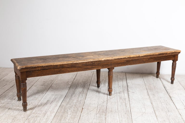 Rustic Farm Bench with Six Turned Legs For Sale 6