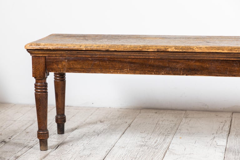 Rustic Farm Bench with Six Turned Legs In Good Condition For Sale In Los Angeles, CA