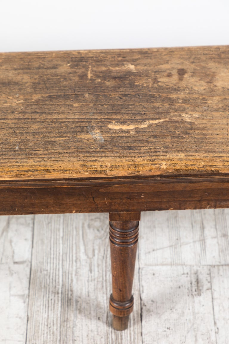 Rustic Farm Bench with Six Turned Legs For Sale 2
