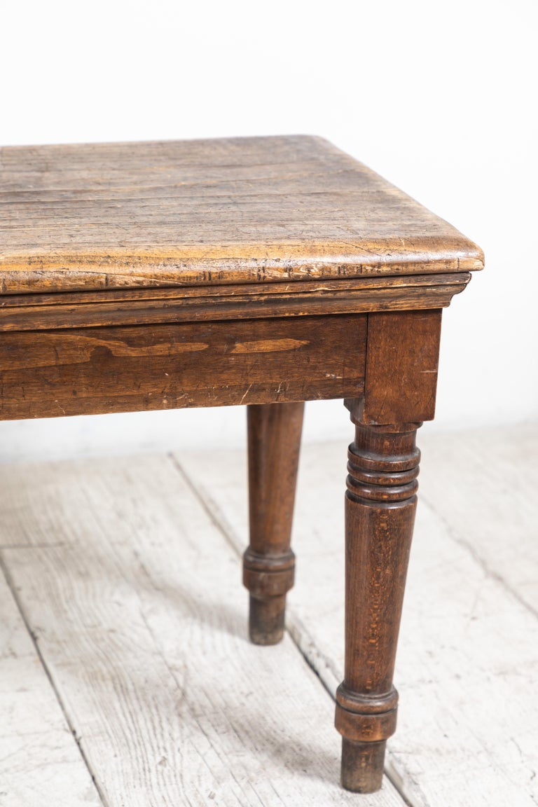 Rustic Farm Bench with Six Turned Legs For Sale 3