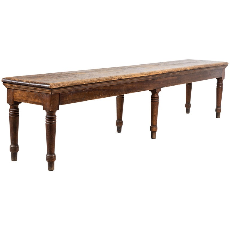 Rustic Farm Bench with Six Turned Legs For Sale