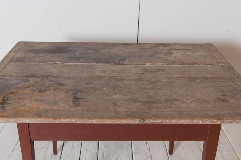 Rustic Farmhouse Rectangular Farm Table With Red Base With