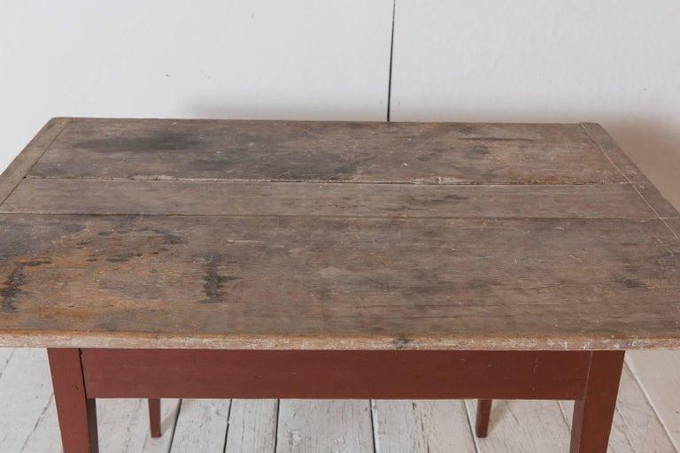 Rustic Farmhouse Rectangular Farm Table With Red Base With Natural - Natural wood farm table