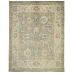 Rustic Farmhouse New Turkish Oushak Area Rug with Colorful Geometric Pattern