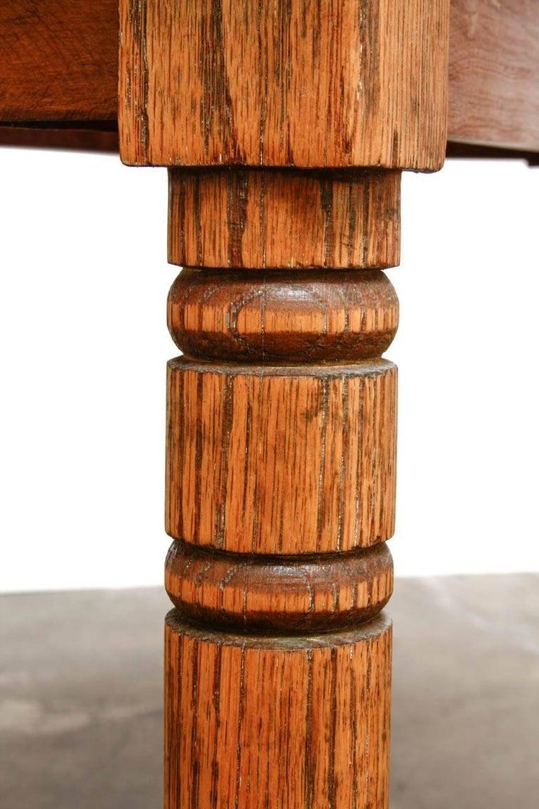 Rustic Farmhouse Oak Work Table or Console For Sale 5